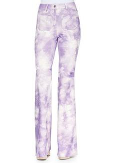 Michael Kors Tie-Dye Leather Bell-Bottom Pants, Wisteria