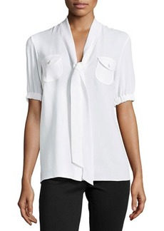 Michael Kors Tie-V-Neck Short-Sleeve Blouse