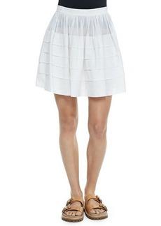 Michael Kors Tiered Cotton Miniskirt, Optic White