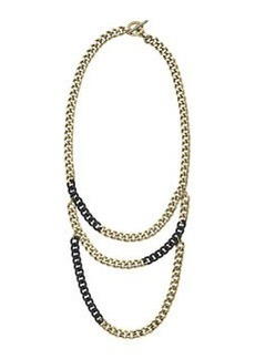 Michael Kors Tiered Curb-Chain Necklace, Black
