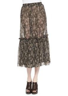 Michael Kors Tiered Floral-Print Skirt