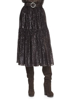 Michael Kors Tiered Velour Peasant Skirt
