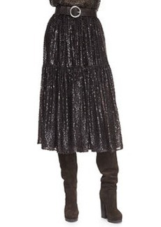 Michael Kors Tiered Velour Peasant Skirt