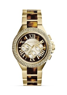 Michael Kors Tortoise-Print & Gold-Tone Camille Glitz Watch, 43mm