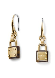 Michael Kors Tortoise-Print Padlock Earrings