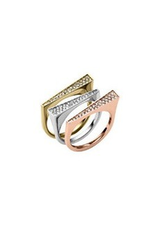 Michael Kors Tricolor Pave 3-Ring Set