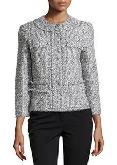 Michael Kors Tweed Collarless 3/4-Sleeve Jacket,