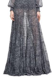 Michael Kors Tweed-Print Chiffon Skirt
