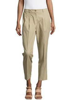 Michael Kors Twill Pleated Cropped Pants
