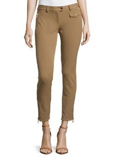 Michael Kors Twill Zip-Pocket Ankle Pants, Chino