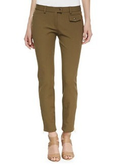 Michael Kors Twill Zip-Pocket Pants, Military
