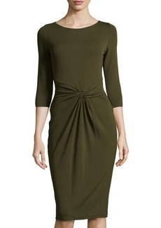Michael Kors Twist-Front Sheath Dress, Olive