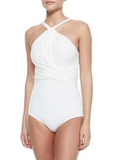 Michael Kors Twisted High-Neck One-Piece Swimsuit