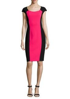 Michael Kors Two-Tone Crepe Dress, Azalea