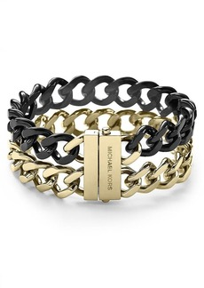 Michael Kors Two Tone Curb Chain Bracelet