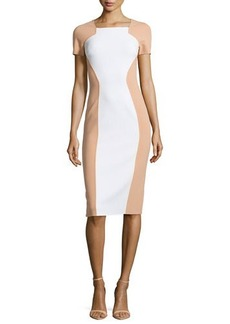 Michael Kors Two-Tone Fitted Crepe Dress
