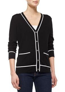 Michael Kors Two-Tone Long-Sleeve Cardigan, Black/White