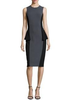 Michael Kors Two-Tone Peplum Dress, Graphite/Black