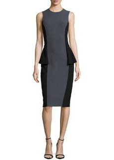 Michael Kors Two-Tone Peplum Dress, Graphite/Black