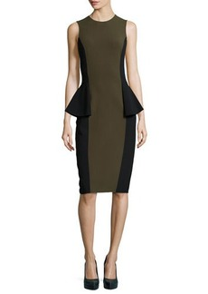 Michael Kors Two-Tone Peplum Dress, Olive