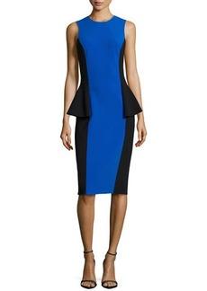 Michael Kors Two-Tone Peplum Dress, Royal/Black