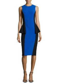 Michael Kors Two-Tone Peplum Dress, Royal/Black