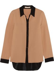 Michael Kors Two-tone silk-crepe shirt
