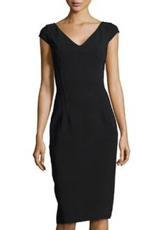 Michael Kors V-Neck Princess Sheath Dress, Black