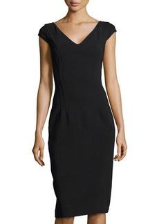 Michael Kors V-Neck Princess Sheath Dress, Black