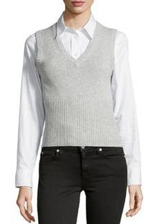Michael Kors V-Neck Sweater Vest, Pearl Melange