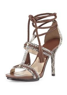 Michael Kors Valera Snakeskin Ankle-Wrap Sandal, Natural