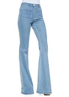 Michael Kors Washed Denim Bell-Bottom Jeans, Cornflower