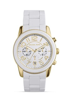 Michael Kors White Silicone and Gold Tone Mercer Watch, 41.5mm