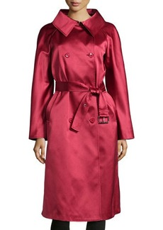 Michael Kors Wide-Collar Satin Trench Coat, Rose