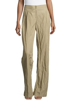 Michael Kors Wide-Leg Cuffed Trousers, Sand