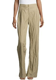 Michael Kors Wide-Leg Cuffed Trousers, Sand