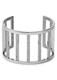 Michael Kors Wide Pave Bar Cuff, Silver Color