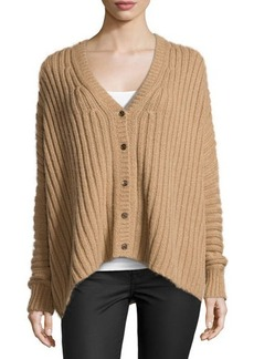 Michael Kors Wide-Ribbed Cardigan, Fawn