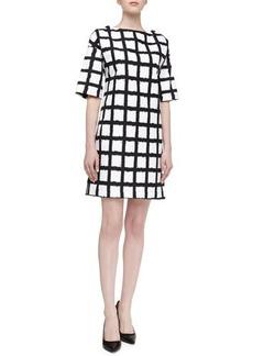 Michael Kors Windowpane Checked Boxy Dress, Black/Optic White