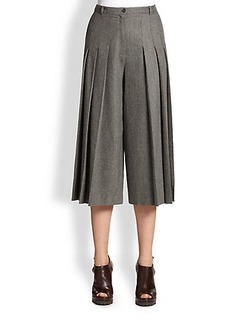 Michael Kors Wool Flannel Pleat-Front Culottes