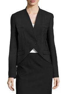 Michael Kors Wool One-Button Cutaway Jacket, Black
