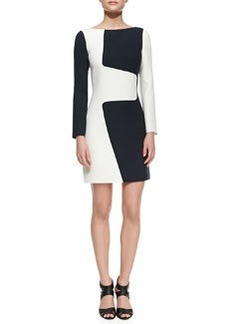 Michael Kors Wool Puzzle Shift Two-Tone Dress, Optic White