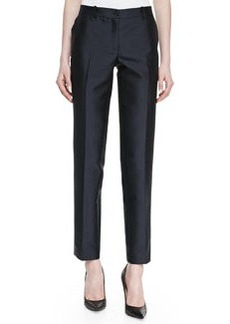Michael Kors Wool Shantung Slim Pants, Midnight