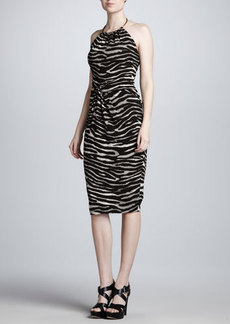 Michael Kors Zebra-Print Ring-Halter Dress