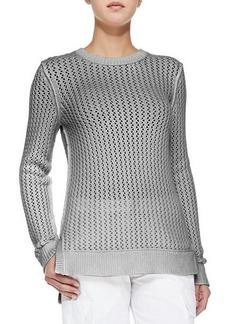 Michael Kors Zigzag Crewneck Cotton-Cashmere Sweater