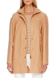 Michael Kors Zip-Front Balmacaan Jacket, Suntan