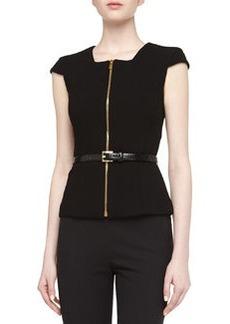 Michael Kors Zip-Front Belted Top, Black