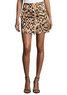 Michael Kors Zip-Front Printed Mini Skirt