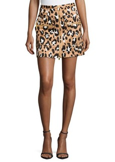 Michael Kors Zip-Front Printed Mini Skirt, Suntan Multi