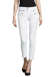 Michael Kors Zip-Pocket Skinny Jeans, White